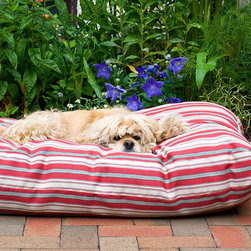 Frontgate - Indoor/Outdoor Striped Jamison Pet Bed Dog Bed - Choose from red or green. Can be used indoor and outdoor. 100% polyester. UV protection to keep from fading. Hose down to clean or machine wash. Perfect for decks, patios, and doghouses, the Striped Jamison Pet Bed can handle all of your activities, indoors or out. Easy to clean, this  bed can be hosed down and the water will run right through it.  .  .  .  .  . Imported.
