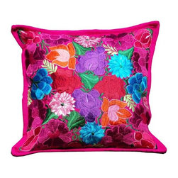 Guatemalan Artisans - Guatemalan Pink Floral Pillow - Bask in a vibrant palette shaped by sun-drenched surroundings and an artful incorporation of Guatemala's celebrated crafts and handiwork.