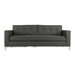 "Apt2B - The Fillmore Apt. Size Sofa, Granite, 66""w X 39""d X 26.5""h - The ultimate in sophistication and downtown style, The Fillmore is a hot addition to any room that needs a boost. A full stainless steel base and a nice deep seat make this a sofa you will have for years and the tufting on the seat and back cushions make it a timeless design. Each piece is expertly handmade to order in the USA and takes around 2-3 weeks in production. Features a solid hardwood frame and upholstered in a stain resistant woven poly blend fabric."