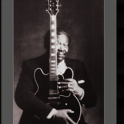 Amanti Art - B.B. King Framed Print by Guido Harari - Celebrate one of America's greatest musical icons with this timeless black & white photography print. This handsome portrait capture the magnetism of the blues legend B.B. King with his beloved guitar Lucille.