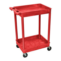 Luxor Furniture - 24 in. 2-Tier Utility Cart in Red - Four heavy duty 4 in. casters, two with brake. Two shelves. Stain, scratch, dent and rust resistant. Retaining lip around back and sides of flat shelves. Push handle molded into top shelf. Reinforced with two aluminum bars. Made of high density polyethylene structural foam molded plastic. Made in USA. Clearance between shelves: 26 in.. Tub shelf: 2.75 in. D. Overall: 24 in. L x 18 in. W x 37.5 in. H. Warranty. Assembly Instructions