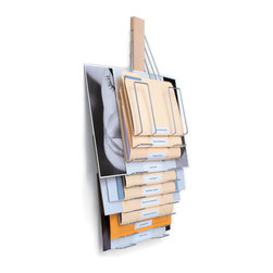 Westerville Design/The Up Filer - The Up Filer Original, Vertical Filing Rack, 10 Hangers/Pockets, Original - The Up Filer turns conventional file storage on its head with it's innovative design. By being wall-mounted it frees up valuable desk top work space. It allows the storage of files or other flat content that vary greatly in size, yet never allows one item to obscure another.