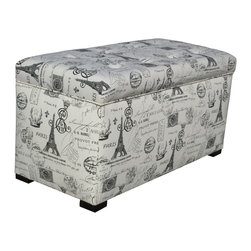 Sole Designs - Sole Designs Angela Paris Match Onyx Storage Trunk - Add a whimsical finish to your decor with this upholstered storage trunk. Featuring a Parisian-themed print,this trunk has a beautiful button-tufted top and a sturdy wood frame. Add functional storage space to any room with this elegant trunk.