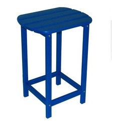 POLYWOOD® Recycled Plastic South Beach 26 in. Side Table - Your outdoor lounge area will be even more entertaining with the addition of a counter-height table and matching chairs. The South Beach 26-Inch Side Table is part of a collection of recycled-plastic outdoor furniture that is extra durable and reliable. It's available in an array of vibrant colors and will last beautifully season after season.The recycled plastic is crafted from milk jugs that were once destined for a landfill but have been transformed into durable attractive patio furniture that will last and last. Designed to look like painted wood this side table doesn't need the maintenance that wood patio furniture requires.About PolyWoodThe advantages of PolyWood Recycled Plastic are hard to ignore. PolyWood absorbs no moisture and will NOT rot warp crack splinter or support bacterial growth. PolyWood is also compounded with permanent UV-stabilized colors which eliminates the need for painting staining waterproofing stripping and resurfacing. This material is impervious to many substances including salt water gasoline paint stains and mineral spirits. In addition every PolyWood product comes with stainless steel hardware.PolyWood is extremely easy to clean and maintain. Simple soap and water is all you need to get rid of dirt and make your furniture look new again. For extreme cleaning needs you can use a 1/3 bleach and water solution. Most PolyWood furnishings are available in a variety of classic colors which allow you to choose your favorite or coordinate with the furniture you already have. This is sure to be a piece that you will be proud to own for a lifetime.