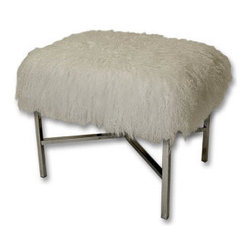 Mongolian Fur X-Bench - Dimensions: 20 x 16 x 19. Available in white or gray.
