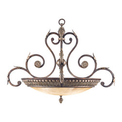 Fine Art Lamps - Stile Bellagio Pendant, 839142ST - With its delicate swanlike curves and textured glass coupe, this fanciful fixture will be a welcome addition to your favorite traditional space. The silver leaf accents are a perfect finishing touch.