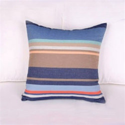 Best Home Fashions - Modern Stripe Pillow Cover (Set of 2) - Blue - - A bold color accent to complement your home decor