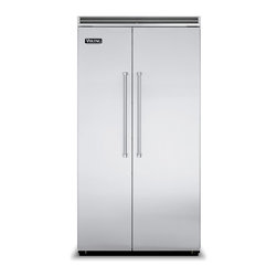 """Viking 42"""" Built-in Side By Side Refrigerator Stainless Steel 