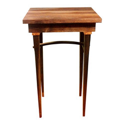 """Vt collection - Traditional Walnut Side Table/End Table - This is a free-form designed side table made from Black Walnut with Cherry Burl accents. The style is Traditional, with gently curved and elegant legs. Dimensions: 20x20"""" top, 24"""" tall. Finished with Tung oil in a medium gloss sheen, polished with Briwax fine furniture polish."""
