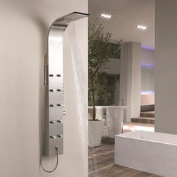 """Hudson Reed - Shower Panel Tower System with Waterfall Head - This Stainless Steel Thermostatic Shower Panel features an integral fixed shower head with waterfall function, ten mini body jets and a slim hand shower. The attractive styling of this modern thermostatic shower panel will be the centrepiece of your bathroom - and deliver a superb shower. Hudson Reed Thermostatic Shower Panel Details   Dimensions: (H x W x D) 65"""" (1650mm) x 8.7"""" (220mm) x 3.3"""" (85mm) Projection from Wall: 18.1"""" (460mm) Shower head can be used with waterfall function or normally by adjusting controls Supplied with wall mounting brackets Pencil hand shower 10 mini body jets The valve features an anti-scald device in case of cold water failure Easy to install gpm: 2.5 gpm (9.5 l/min) max. Please note: This shower system requires a minimum water pressure of 15 psi for a superior showering experience. Please note: All functions can be used independently, using multiple functions simultaneously may reduce the water flow to the outlets.  See how to install our shower panels"""