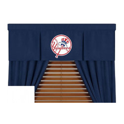 Sports Coverage - MLB New York Yankees MVP Micro Suede Valance - Finish off the room in style with this great looking New York Yankees MVP Micro Suede valance. A must have for any true MLB fan! The MVP Micro Suede Collection is unique in its appeal to both young and more mature tastes. Sporting team colors with a soft leather looking stripe. The best part of this new look is its ultra soft and washable faux suede fabric which is perfect for bedding because it stays soft. Wash in cold water and tumble dry in low heat. Color fast and wrinkle-free.   Show your team spirit with this officially licensed 50 x 15 New York Yankees MVP Pleated Valance. Screen printed New York Yankees logo in center on official team-colored jersey, with the lance wearing the same smaller team logo as the sham, for a coordinated window play. Self lined. Drapery is sold separately.