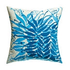 KOKO - Embroidered Water Pillow, Blue Fronds - Pillow accents are a great way to bring a touch of nature inside the house. These shades of blue are so calming and peaceful and would pair well with yellow or coral. You can practically hear the ocean waves as you gaze at it.