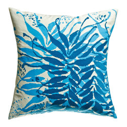 "KOKO - Water Pillow, Embroidery, Blue/Mustard, 18"" x 18"" - Pillow accents are a great way to bring a touch of nature inside the house. These shades of blue are so calming and peaceful and would pair well with yellow or coral. You can practically hear the ocean waves as you gaze at it."