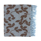 Surya - Surya Timora Brown-Sky Blue Throw Blanket - Stick to the PatternDial up the design with Surya's gorgeous Timora Brown-Sky Blue Throw Blanket. A pretty foliage pattern stands out against the airy blue background, giving this elegant blanket legs to go from country cottage to transitional home without a problem. Made in India and crafted from 100% cotton, this cozy throw is all you need to wrap yourself up in stylish softness. Talk about fringe benefits.100% cottonTwo-tone pattern: sky blue and brownMade in India