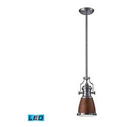 Elk Lighting - Elk Lighting 66743-1-LED Chadwick Transitional Pendant Light in Satin Nickel - Elk Lighting 66743-1-LED Chadwick Transitional Pendant Light in Satin Nickel