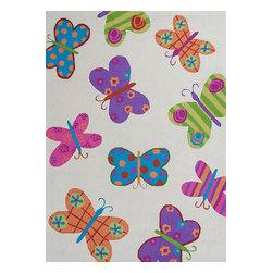 KAS - Kas Kozy Kids 0554 Ivory Butterflies Rug - 3 ft 3 in x 5 ft 3 in - Kas Kozy Kids 0554 Ivory Butterflies Area Rug Features