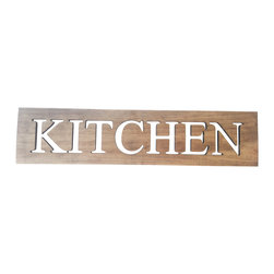 Timber Art Signs - Kitchen Art Wooden Wall Plaque Home Decor - This plaque has cut out kitchen in solid wood, stained to reveal the beauty of the timbers grain and character, every piece has different grain.