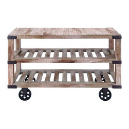 Benzara - Rustic Console Cart With Portable Wheels - This rustic console cart is fit for a lavish countryside home. The cart is made with aged rustic style wood planks on table top as well as two shelves underneath. The classic European kitchen cart style of this console is perfectly suited to create a unique and portable table, perfect for your home. A very useful surface for entertaining.