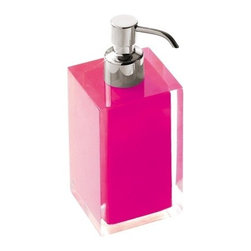 Gedy - Square Pink Countertop Soap Dispenser - Modern, decorative square semi-transparent fuchsia hand soap dispenser with chromed brass hand pump. Soap dispenser container made from thermoplastic resins. Made in Italy by Gedy. Modern, fuchsia hand lotion dispenser. Made from thermoplastic resins. Pum