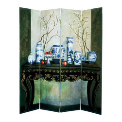 Wayborn - Wayborn Hand Painted Display Of Vase Room Divider - Wayborn - Room Dividers - 1297 - Wayborn hand painted screens start with a cedar plywood frame covered in a cheesecloth material. Then layer after layer of plaster is applied; each layer must dry before another layer can be applied. After all the plaster has been applied several coats of lacquer is put over the entire surface. At that time the artist begins to sketch out the painting directly on the panels of the screen and begins painting the design with water based paint.  Each one of these screens has its own characteristics and is truly a work of art.