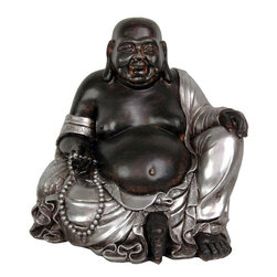 "Oriental Furniture - 11"" Sitting Happy Buddha Statue - This is one of the largest of the cast resin sitting Happy Buddha statues available, also the heaviest. At almost a foot tall and a foot wide, this is a large work of distinctive, beautiful, craftsmanship. Cast from high quality heavy resin, with an outstanding, unique two tone silver and black finish. Lucky Buddha is known to the Japanese as ""Hotei"", and to the Chinese as ""Budai"". In ancient Asian tradition, Hotei or Budai was part of country folk lore, not main stream Buddhism or Zen Buddhist teachings. He is not portrayed in traditional Buddhist art or artwork. His depictions are more commonly part of a village shrine, bringing goodness and contentment, bestowing happiness and prosperity. A statue of this size is a significant, substantial gift, a great gift for the person who does not have or want everything."