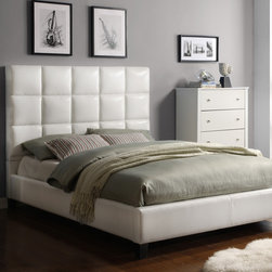 Inspire Q - INSPIRE Q Fenton White Bonded Leather Panel King-sized Upholstered Bed - The white vinyl features of this modern upholstered king bed give it a contemporary look. Asian rubberwood provides a sturdy frame for this set,ensuring years of durability. The set includes the white tufted headboard,footboard,rails,and three slats.