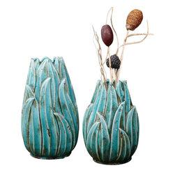 Uttermost Darniel Ceramic Vases, S/2 - Distressed, crackled teal blue ceramic with antique khaki undertones. Ornate ceramic vases feature a distressed, crackled teal blue finish with antique khaki undertones. Sizes: sm-8x12x6, lg-8x15x6