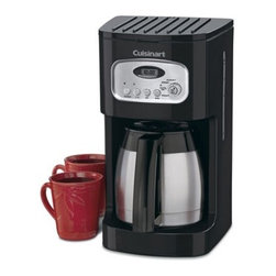 Cuisinart - 10 Cup Programmable Thermal Coffee Maker - The sleek, attractive thermal carafe and stainless accents blend seamlessly to achieve a classic look with modern conveniences.With easy 24-hour programmability to ensure a fresh pot of coffee anytime, and a 1-4 cup setting to maintain the delicious coffee taste when making a smaller pot, this 10-cup Coffee Maker is a smart addition to the countertop. And the gold-tone coffee filter and charcoal water filter always ensure fresh, great tasting coffee. Features: -10-cup double-wall insulated thermal carafe.-Fully automatic with 24-hour programmability, self-clean and 1 to 4-cup settings.-Automatically shuts off when brewing is complete.-60-second reset remembers'' where it was in the brewing process and settings.-Charcoal water filter.-Gold-tone filter.-Classic design with stainless accents.-Brew Pause feature lets you enjoy a cup of coffee before brewing has finished.-Collection: Black Appliances.-Distressed: No.Dimensions: -13'' H x 9'' W x 8'' D, 6 lbs.-Overall Product Weight: 6 lbs.Warranty: -Limited 3-year warranty.