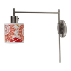 Lights Up! - Walker Pin-Up Sconce, Anna Red - The lantern sconce goes thoroughly modern. This easily elegant piece, designed by Rachel Simon, combines soft curves, strong corners and appealing brushed nickel to add a distinctive touch to your favorite modern setting. Choose a patterned silk or solid linen shade.