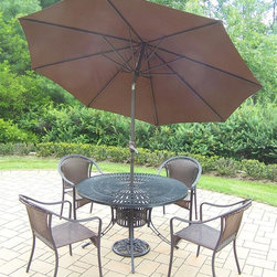 Oakland Living - 7-Pc Outdoor Dining Table Set - Includes one dining table, and four stackable resin wicker chairs, 9 ft. tilt and crank umbrella and stand. Umbrella hole. Metal hardware. Fade, chip and crack resistant. Warranty: One year limited. Made from aluminum, steel and resin wicker. Black hardened powder coat finish. Minimal assembly required. Table: 48 in. Dia. x 29 in. H. Chair: 25.5 in. W x 23.25 in. D x 34 in. H (14 lbs.). Overall weight: 155 lbs.This dining set is the perfect piece for any outdoor dinner setting. Just the right size for any backyard or patio. The Oakland Sunray Collection combines contemporary style and modern designs giving you a rich addition to any outdoor setting. The traditional lattice pattern and scroll work is crisp and stylish. Each piece is hand cast and finished for the highest quality possible.