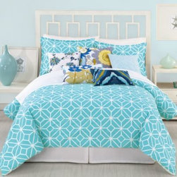 """Trina Turk - Trina Turk Trellis Duvet Cover in Turquoise - Reminiscent of the 60's classic style, the Trina Turk Trellis Duvet Cover mixes bright colors and unique patterns for an updated look. The chic duvet cover transforms your bedroom with its white """"fleurette"""" pattern on a bright turquoise background."""