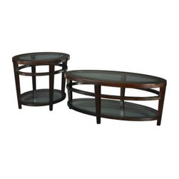 Hammary Urbana 2-Piece Oval Coffee Table Set - The Hammary Urbana 2-Piece Oval Coffee Table Set includes a coffee table and end table crafted from select hardwood solids and cherry veneers in a dark merlot finish. Both oval-shaped tables feature gleaming beveled glass tops and one beveled glass shelf below. About Hammary Furniture CompanyHammary Furniture Company was started in 1943 by furniture craftsman Hamilton Bruce. The name Hammary is a combination of Hamilton and Mary (Hamilton's wife's name). Hammary is now a division of La-Z-Boy Incorporated and they specialize in providing quality home furniture for today's modern families and homes. Hammary offers a variety of occasional table styles and other furniture for home office casual dining and bedroom in all shapes sizes and materials.