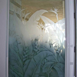 Tropical Leaves - Window with Tropical Forest Etched Glass by Sans Soucie Art Glass