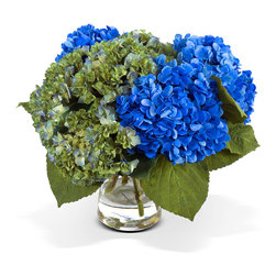 New Growth Designs - Hydrangea Bouquet - Bright blue and verdant green, this hydrangea bouquet is the ideal floral accent for your favorite setting. Even better? The lifelike silk blooms will stay just-cut fresh forever. Shh, you needn't tell a soul they didn't come from your garden.