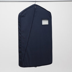 """Frontgate - Luxury Garment Bag - Made of thick 100% cotton twill fabric for long-lasting protection. 4"""" fused gusset adds structure to prevent the bag from collapsing on the garment. Fits up to three garments. Standard 38"""" length accommodates suits in double-rack closets. 50"""" length fits longer jackets (sized 46 and above). Constructed of heavy, 8-1/2 oz. cotton twill, our Luxury Garment Bags provide a durable barrier against the detrimental effects of long-term exposure to dust and airborne pollutants, and even moths.  .  .  .  .  . Oversized 60"""" length fits overcoats . To determine the size needed, measure the length of the garment when hung on a hanger, from the point where the hook meets the hanger to the bottom of the garment . Plastic window allows for easy identification without opening the bag and can hold a business/identification card . 3/4"""" button-hole openings at the top of the bag """"seal"""" it onto the hanger . Horizontal tab on the bottom can be used to fold the bag for compact travel . Made in USA."""