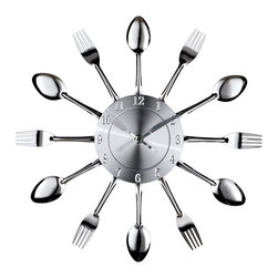 LexMod - Fork and Spoon Dining Wall Clock - Capture the moment in bite-sized portions with this retro modern commentary on consumption. Interspersed silver-toned shimmering forks and spoons feed the senses with periodic servings of light while a sleek clock face apportions the measurements. Bring culinary expressionism to your kitchen in an eccentric exhibition of contemporary decor.