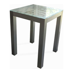 """Crystalla Glass - Etched Glass End Table, 18"""" x 18"""" x 24"""" , Belgian Stone - Love to spend a little time with your table."""