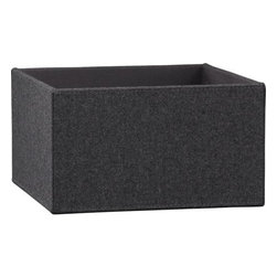 felt storage box - tailored to fit. Open catchall in a charcoal menswear wool felt blend with light grey double topstitching at the corner seams. Sized to fit Carlson II Tower.- Viscose-wool covering- MDF frame- Made in China- See dimensions below