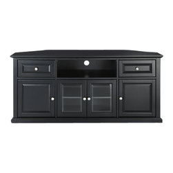 """Crosley - 60 Inch Corner TV Stand in Black - This signature corner TV cabinet accommodates most 60"""" flat panel TVs, and is handsomely proportioned featuring character-rich details sure to impress. The hand rubbed, multi-step finish is perfect for blending with the family of furniture that is already part of your home. Features raised panel doors for concealed storage and also tempered beveled glass doors not only add a touch of class; they protect those valued electronic components, while allowing for complete use of remote controls. The open storage area generously houses media players and the like. Adjustable shelving offers an abundance of versatility to effortlessly organize by design, while cord management tames the unsightly mess of tangled wires."""