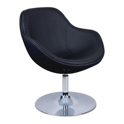 furnitive - Tequila Black-Black Lounge Chair - With its elegantly rounded shell on a rounded chrome pedestal, the Tequila Lounge Chair is a luxurious retro-classic that combines the best of recent technology. The comfortable shell seat is crafted out of high-quality fiberglass with an exemplary calico-white finish, and a functional rotary base. Designed in a fashionable red, gray, and green textile-leather cover for maximum appeal, the Tequila Lounge Chair is perfect for almost any surrounding.