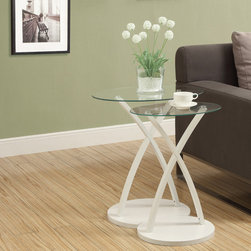 None - White Bentwood 2-piece Nesting Table Set - These tables feature sturdy legs in an X formation and an attached base. Each table features striking design with a bright white leg color and clear glass top.