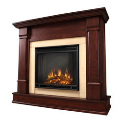 Real Flame - Silverton Electric Fireplace in Dark Mahogany - 1400 Watt heater, rated over 4700 BTUs per hour. Programmable thermostat with display in Fahrenheit or Celsius. Ultra Bright LED technology with 5 brightness settings. Digital readout display with up to 9 hours timed shut off. Dynamic ember effect. Fireplace includes wooden mantel, firebox, screen, and remote control.. Solid wood and veneered MDF construction. 48 in. W x 13 in. D x 41 in. H (98 lbs.)Curl up by the comforting glow of the Vivid Flame Electric fireplace anywhere in your home. Ideal for living rooms, family rooms or bedrooms, the free-standing Silverton offers clean linesand transitional styling that will add instant ambiance to any home. The Vivid Flame Electric Firebox plugs into any standard outlet for convenient set up. The features include remote control, programmablethermostat, timer function, brightness settings and ultra bright Vivid Flame LED technology.