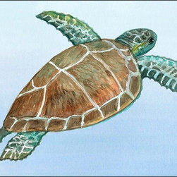 Casart coverings - Element: Sea Turtle No. 5 Wall Coverings - Our Gulf Coast Birds is an original artwork that was created to bring awareness to ongoing Gulf Coast recovery efforts. This Gulf Coast Design can be put up as a separate, individual panel, or purchased with several other designs that can be put together as a mural. This design features a sea turtle with a blue water background.