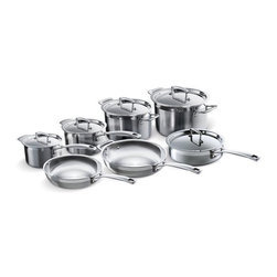 Le Creuset - Le Creuset Tri-Ply Stainless Steel 12-Piece Cookware Set - This complete set of stainless steel can outfit any professional kitchen. Le Creuset's tri-ply stainless steel features superior heat conduction, thanks to a full aluminum core bonded between two layers of professional-grade stainless steel. Even heat distribution allows for a variety of cooking techniques, like searing, sauteing and pan-frying.