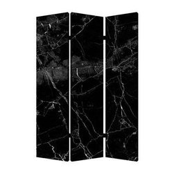 Black Marble Screen - Trick the eye as you create a sense of intimacy in your open space. This three-panel, dual-image room divider brings the luxury of marble to a lightweight canvas screen.