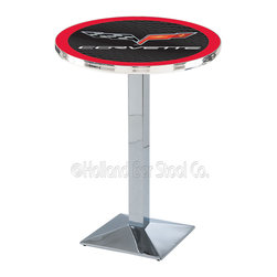 Holland Bar Stool - Holland Bar Stool L217 - Chrome Corvette - C6 Black Pub Table W/ Red Accent - L217 - Chrome Corvette - C6 Black Pub Table W/ Red Accent  belongs to General Motors Collection by Holland Bar Stool Made for the ultimate Corvette - C6 enthusiast, impress your buddies with this knockout from Holland Bar Stool. This L217 Corvette - C6 table with square base provides a commercial quality piece to for your Man Cave. You can't find a higher quality logo table on the market. The plating grade steel used to build the frame ensures it will withstand the abuse of the rowdiest of friends for years to come. The structure is triple chrome plated to ensure a rich, sleek, long lasting finish. If you're finishing your bar or game room, do it right with a table from Holland Bar Stool.  Pub Table (1)