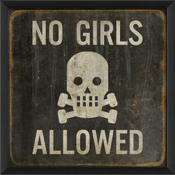 The Artwork Factory - 'No Girls Allowed' Print - Perfect for tree houses, secret code ring clubs or your residential man cave. Printed on acid-free, fade-resistant paper, this print will remain perfectly pristine anywhere you hang it, barring the event of in-house vandalism.