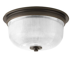 Progress Lighting - Progress Lighting Archie Close-to-ceiling with Clear Double Prismatic, Venetian - Progress Lighting Archie Close-to-ceiling with Clear Double Prismatic, Venetian Bronze X-47-0473P