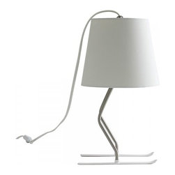 ParrotUncle - Skiing Desk Lamp With Fabric Shade, White - Illuminate your favorite setting with this incredible stylish skiing desk lamp. Feature with a beautiful sleek lampshade with bright color and a metal base with creative design, this desk lamp give you a refreshing feel. A great lighting fixture that suitable for placing in your desk areas or shelves to enhance your contemporary décor.