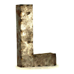 "Kathy Kuo Home - Industrial Rustic Metal Small Letter L 18""H - Create a verbal statement!  Made from salvaged metal and distressed by hand for an imperfect, time-worn look."